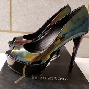Iridescent oil slick Brian Atwood Bambola pumps